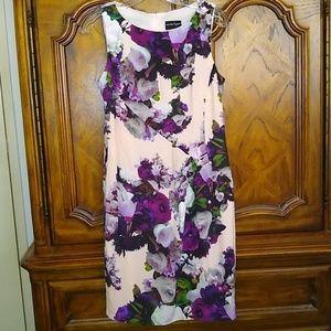 Nanette Lepore sleeveless pink floral silk dress 6